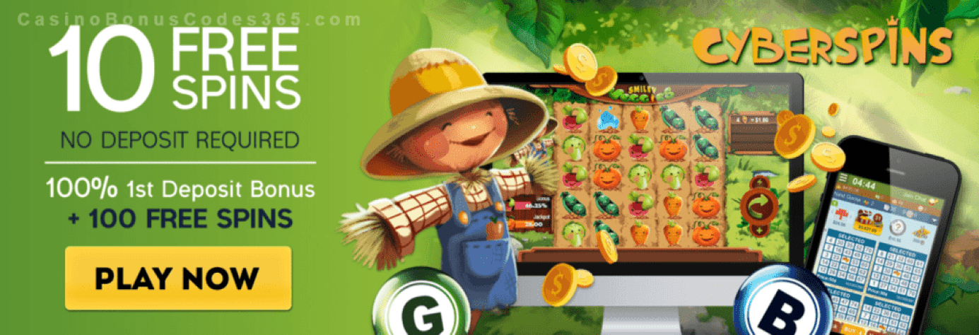 CyberSpins 110 FREE Mobilots Smiley Veggies Spins plus 100% Match Bonus Welcome Offer