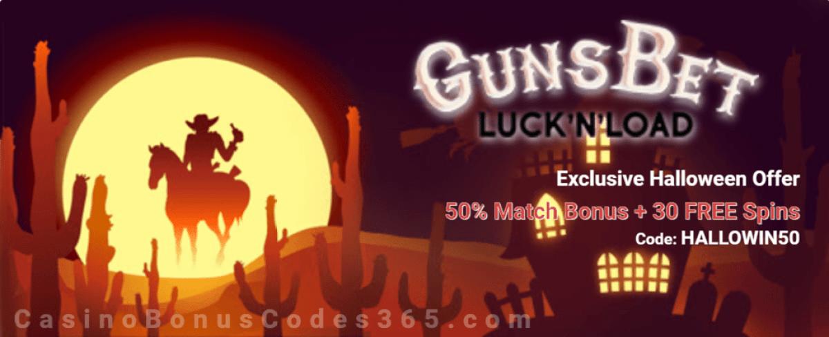 GunsBet 50% Match Bonus plus 30 FREE Spins Special Halloween Deal