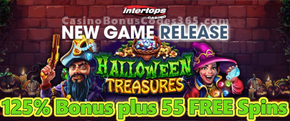 Intertops Casino Red 125% Bonus plus 55 FREE Spins on RTG Halloween Treasures New Game Promo