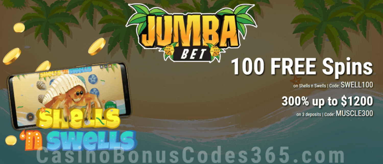 Jumba Bet 100 Free Shells N Swells Spins Plus 300 Match