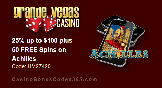 Grande Vegas Casino 25% up to $100 plus 50 FREE Spins on RTG Achilles Special Promo