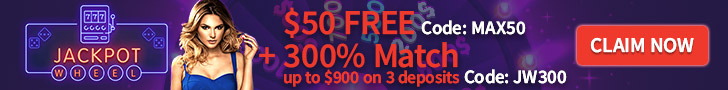 Jackpot Wheel $50 FREE Chip plus 300% Match Bonus Special Deal