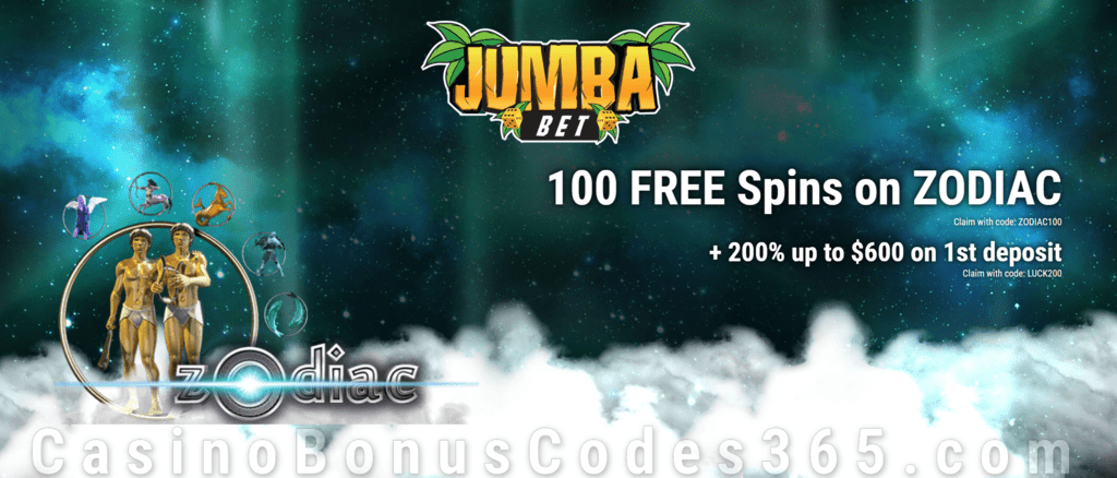 Jumba Bet 100 FREE Saucify Zodiac Spins plus 200% Match New Player Offer