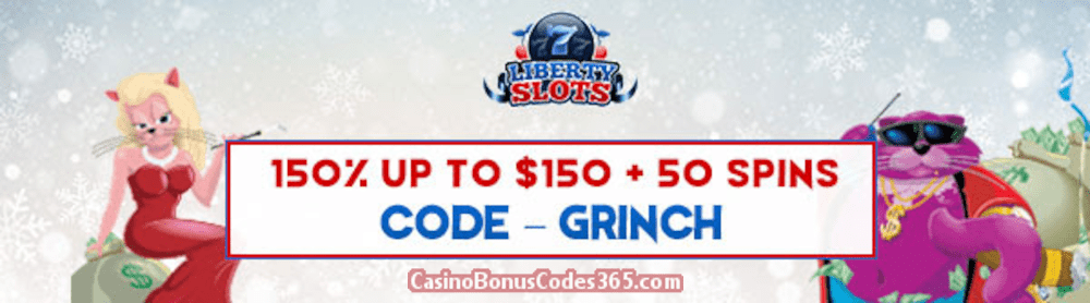 Liberty Slots 150% up to $150 Bonus plus 50 FREE Spins WGS Fat Cat Welcome Offer