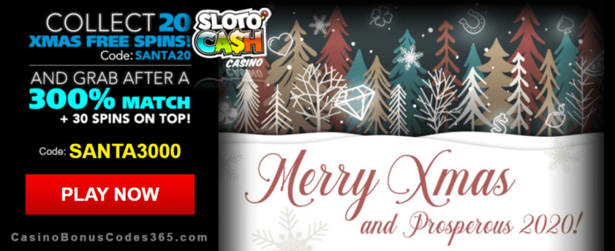 SlotoCash Casino 20 No Deposit FREE Spins plus 300% Match Bonus Special Xmas Offer