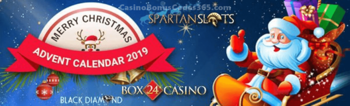 Black Diamond Casino, Box 24 Casino and Spartan Slots Advent Calendar 2019