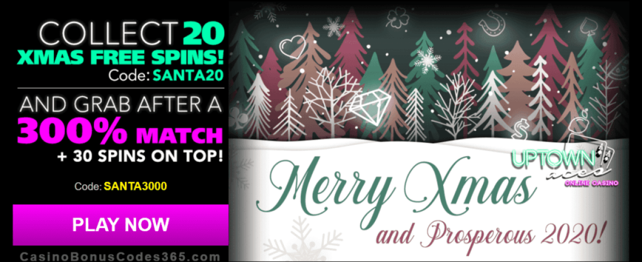 Uptown Aces Xmas Special 20 FREE Spins plus 300% Match Bonus Deal