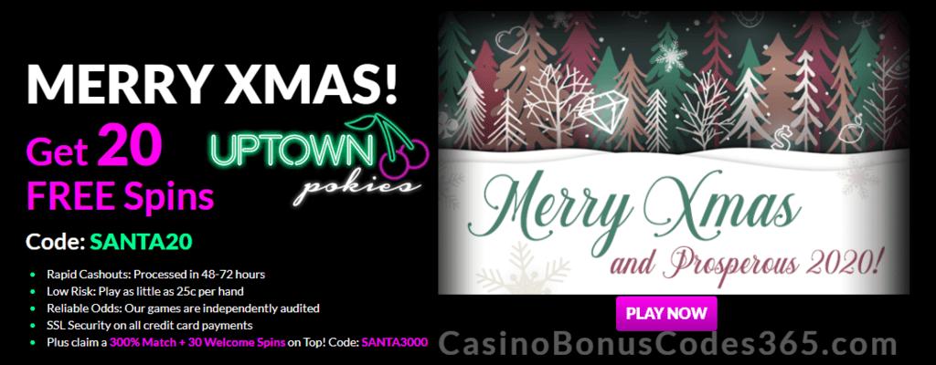 Uptown Pokies 20 Festive Free Spins Plus 300 Match Bonus Special
