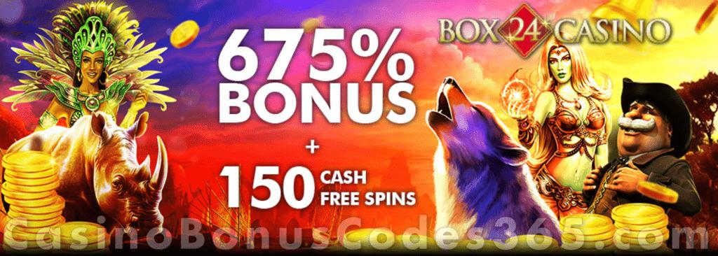 Box 24 Casino 675 Match Bonus Plus 150 Free Spins Welcome Pack