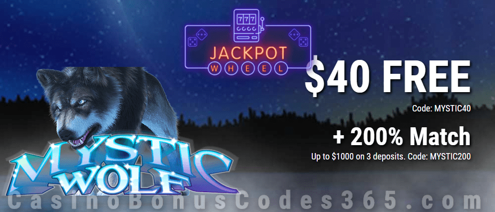 Jackpot Wheel $40 FREE Chip on Saucify Mystic Wolf plus 200% Match Special Welcome Deal