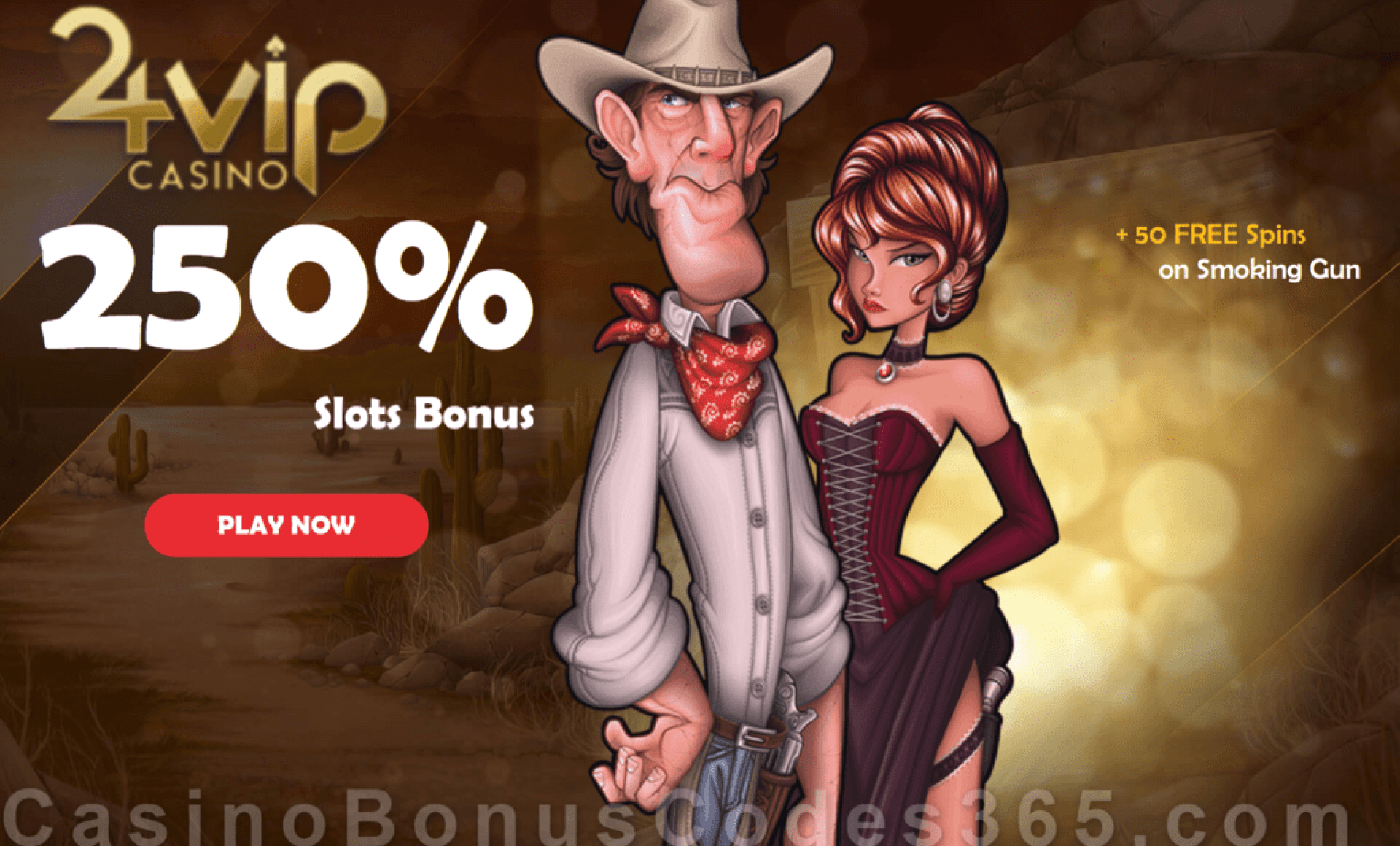 24VIP Casino 250% Match Bonus plus 50 FREE Spins on Rival Gaming Smoking Gun New Players Special Offer