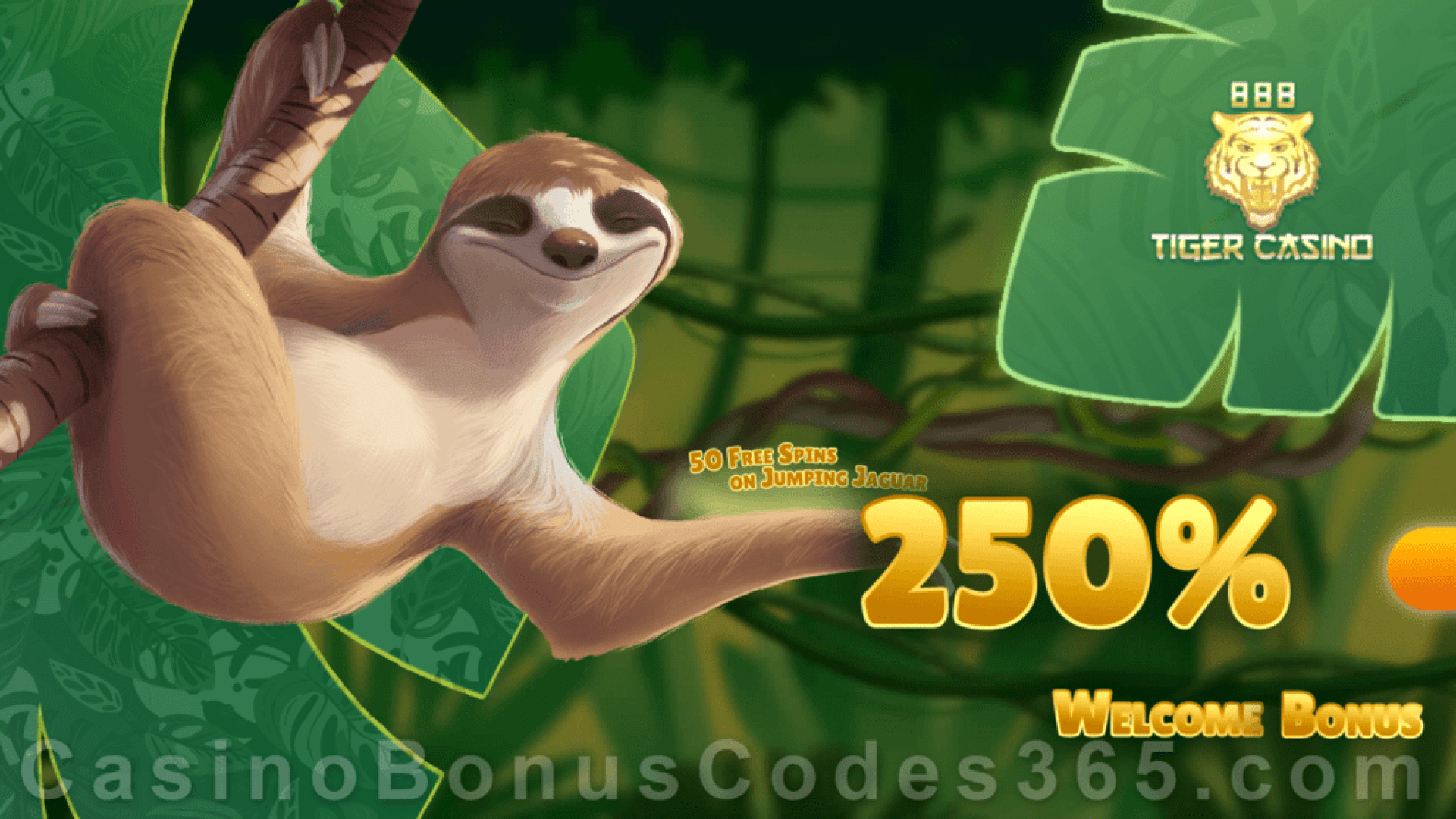 888 Tiger Casino 250% Match Bonus plus 50 FREE Spins on Rival Gaming Jumping Jaguar Welcome Package