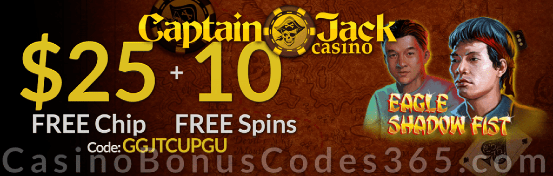 Captain Jack Casino $25 FREE Chip plus 10 FREE Spins RTG Eagle Shadow Fist