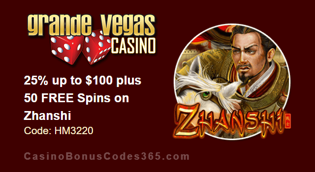 Grande Vegas Casino 25% up to $100 plus 50 FREE RTG Zhanshi Spins Special Weekly Promo
