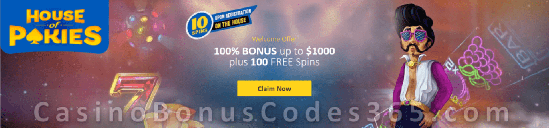 House of Pokies 10 No Deposit FREE Spins and 100% Match up to $1000 plus 100 FREE Spins on top Welcome Package