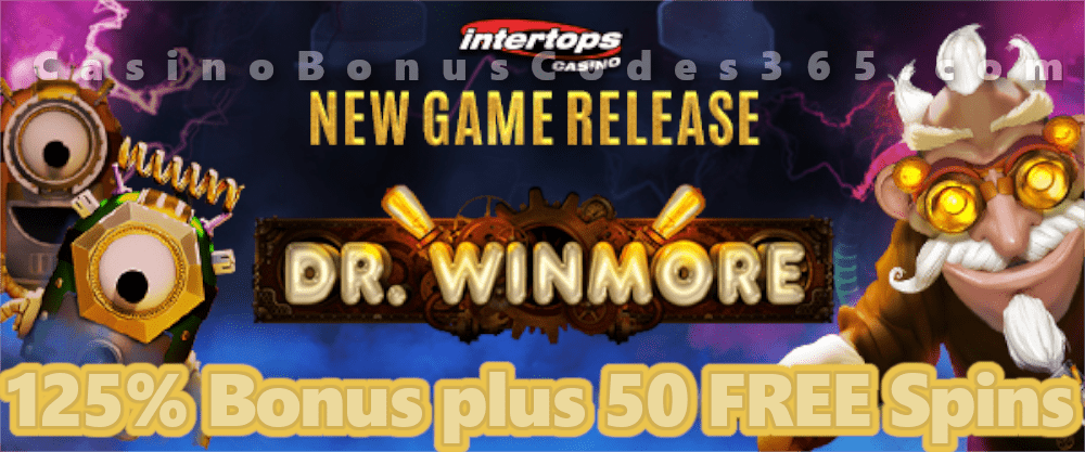 Intertops Casino Red 125% Bonus plus 50 FREE Spins on Dr. Winmore New RTG Game Special Deal