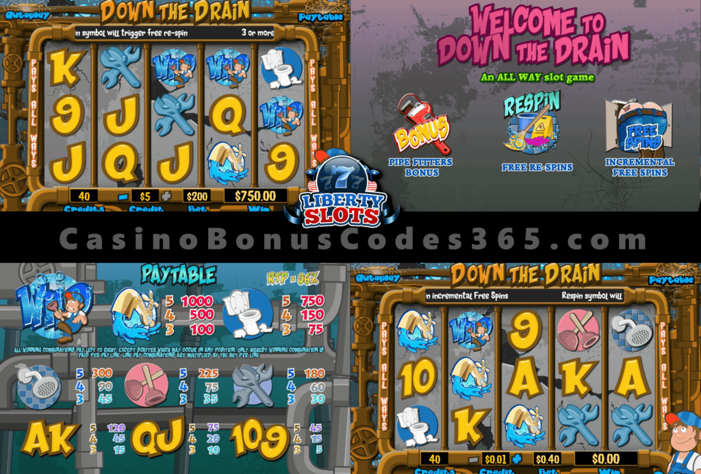 Liberty Slots 50 Down the Drain Special Welcome FREE Spins