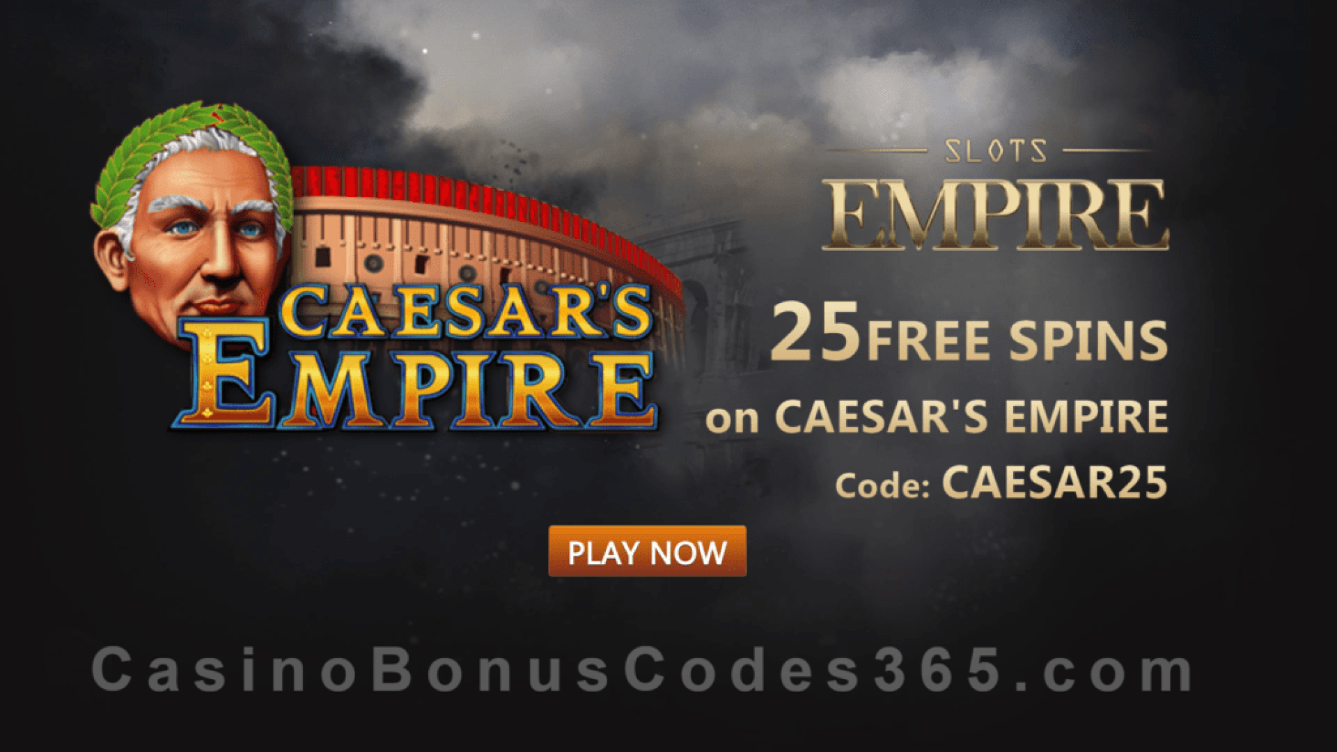 Slots Empire 25 FREE Spins on RTG Caesar's Empire Exclusive Deal
