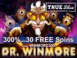 True Blue Casino 300% No Max Bonus plus 30 FREE Dr. Winmore Spins Special New RTG Game Offer