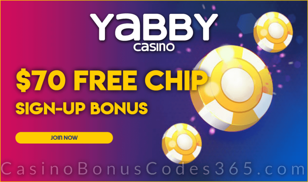 Yabby Casino $70 FREE Chip Sign Up Bonus