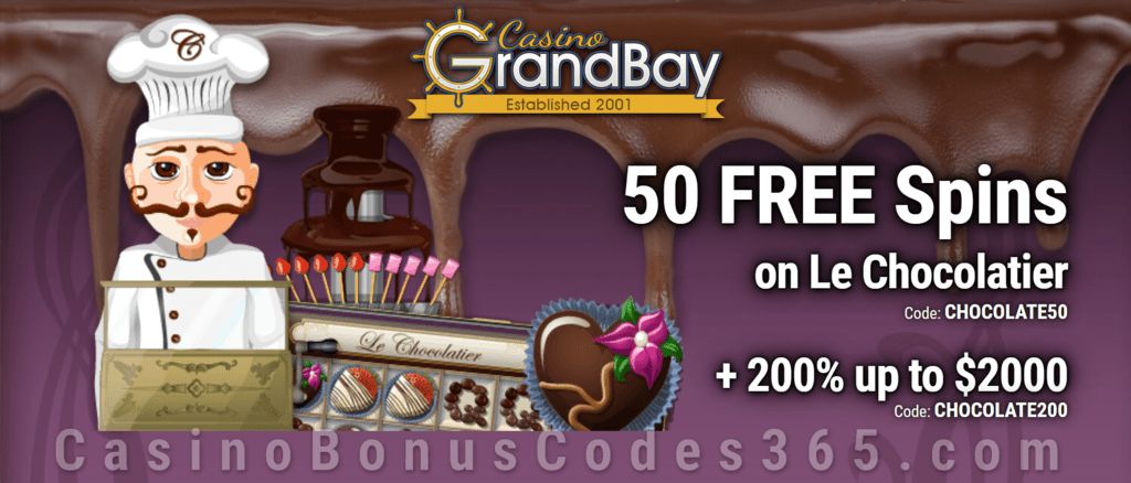 Casino Grand Bay 50 FREE Spins on Saucify Le Chocolatier plus 200% Match Bonus Welcome Offer