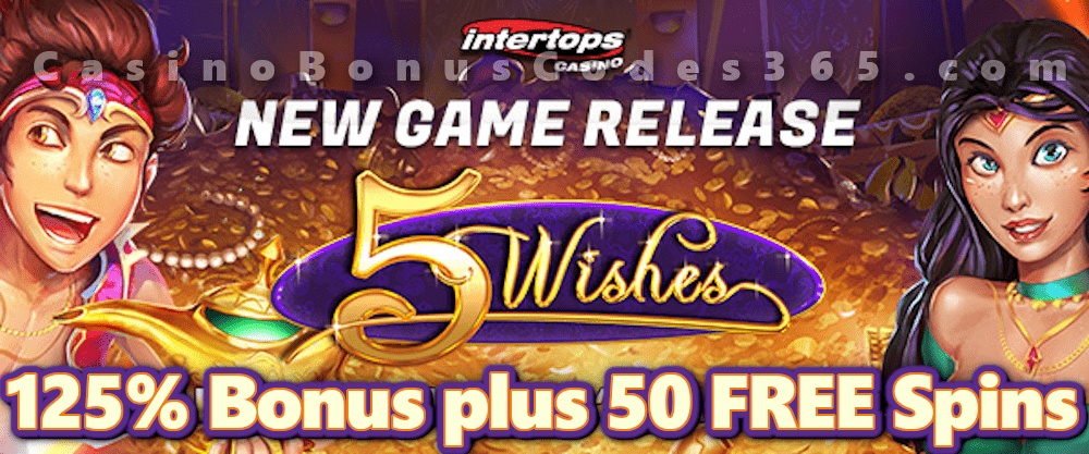 Intertops Casino Red 125% Bonus plus 50 FREE 5 Wishes Spins New RTG Game Special Offer