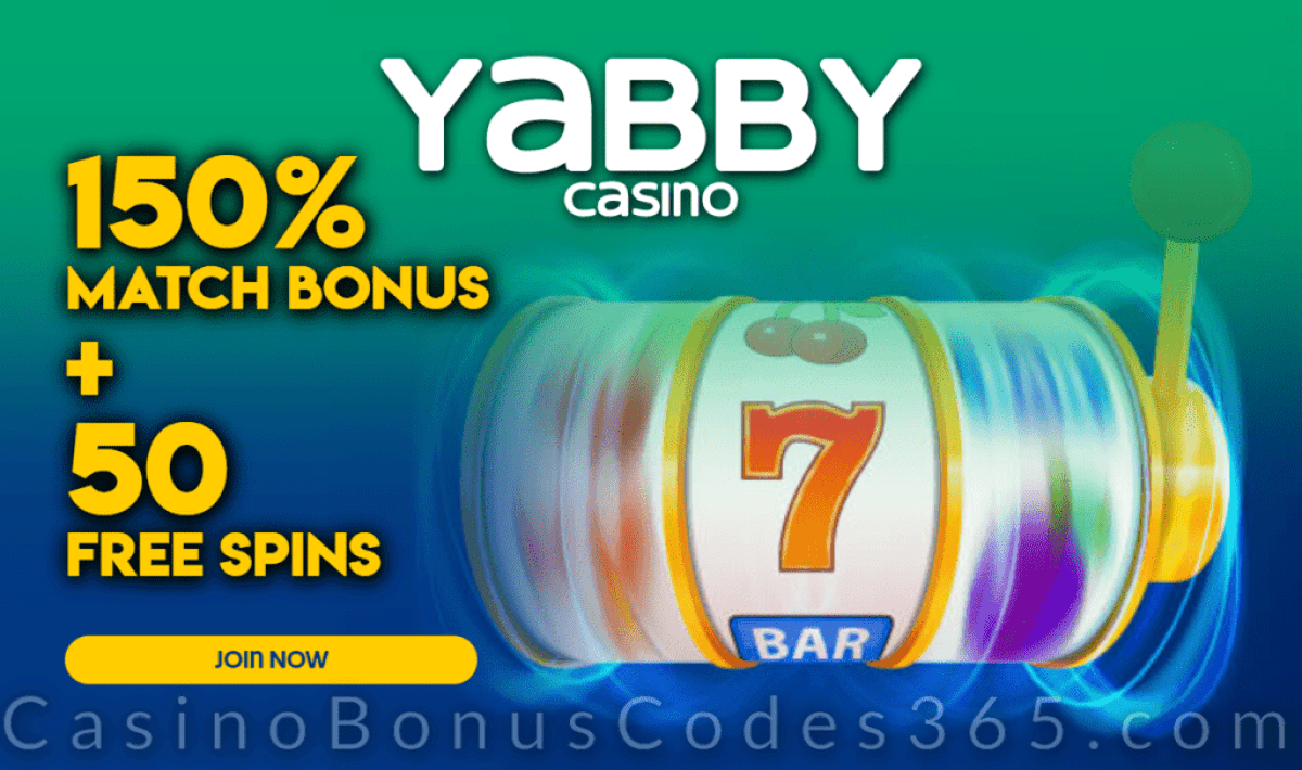 Yabby Casino 150% Match Bonus plus 50 FREE Spins Special Offer