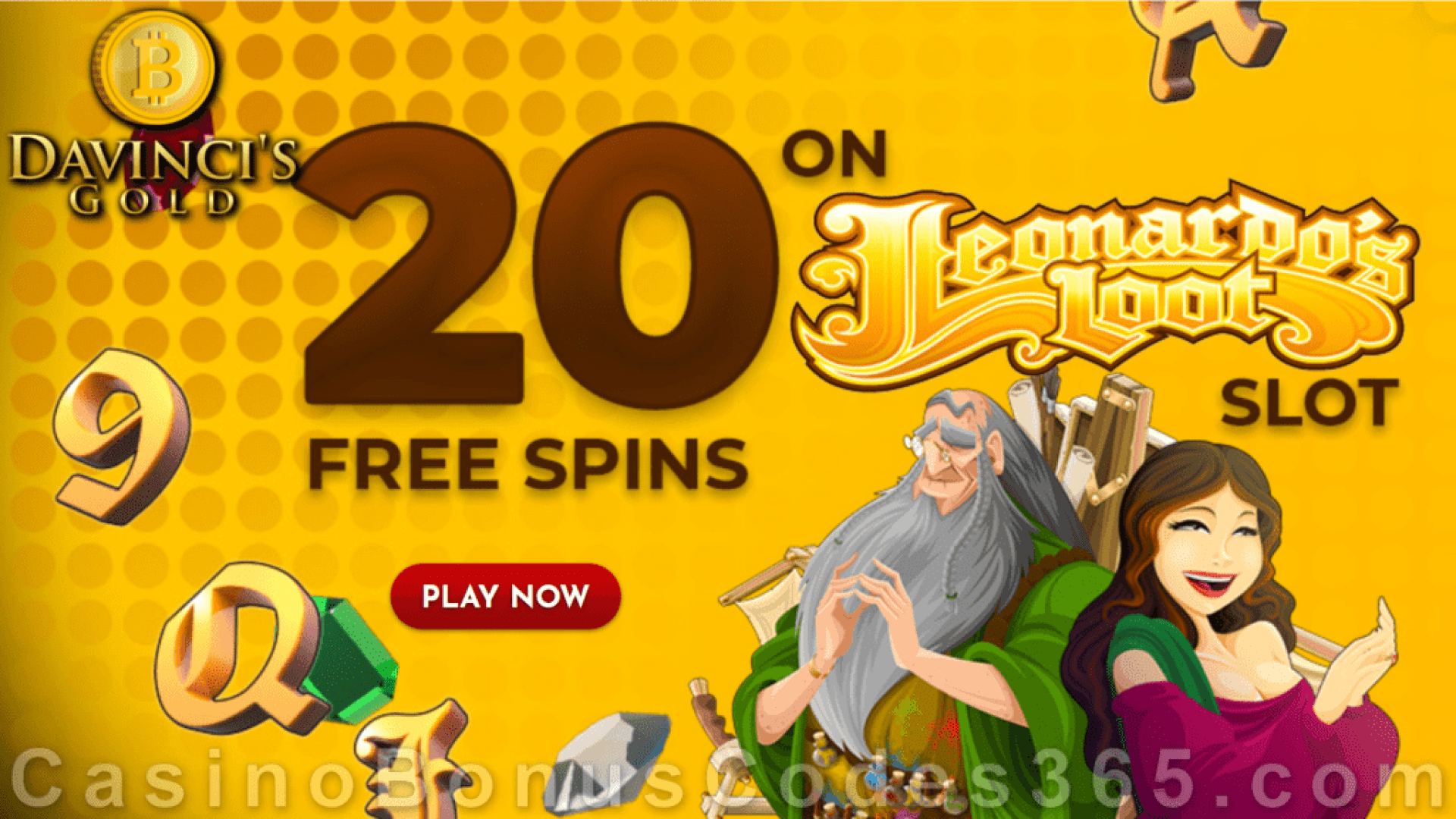 Da Vinci's Gold 20 FREE Rival Gaming Leonardo's Loot Spins No Deposit New Players Offer
