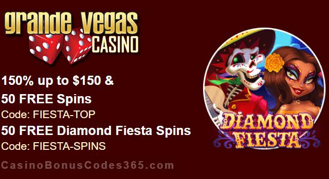 Grande Vegas Casino 150% Bonus plus 150 FREE RTG Diamond Fiesta Spins New Game Special Promo