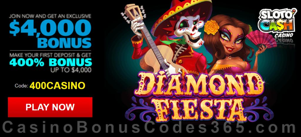 SlotoCash Casino RTG Diamond Fiesta 400% Welcome Bonus