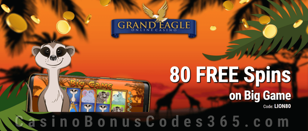 Grand Eagle Casino Exclusive 80 FREE Saucify Big Game Spins Special No Deposit Deal
