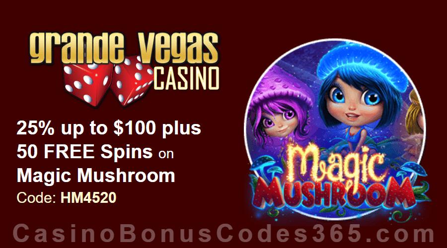 Grande Vegas Casino 25% up to $100 plus 50 FREE Magic Mushroom Spins Special Deal