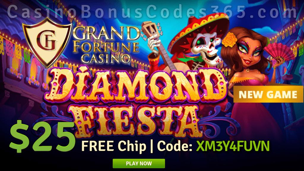 Grand Fortune Casino Diamond Fiesta 25 Free Chip New Rtg Game