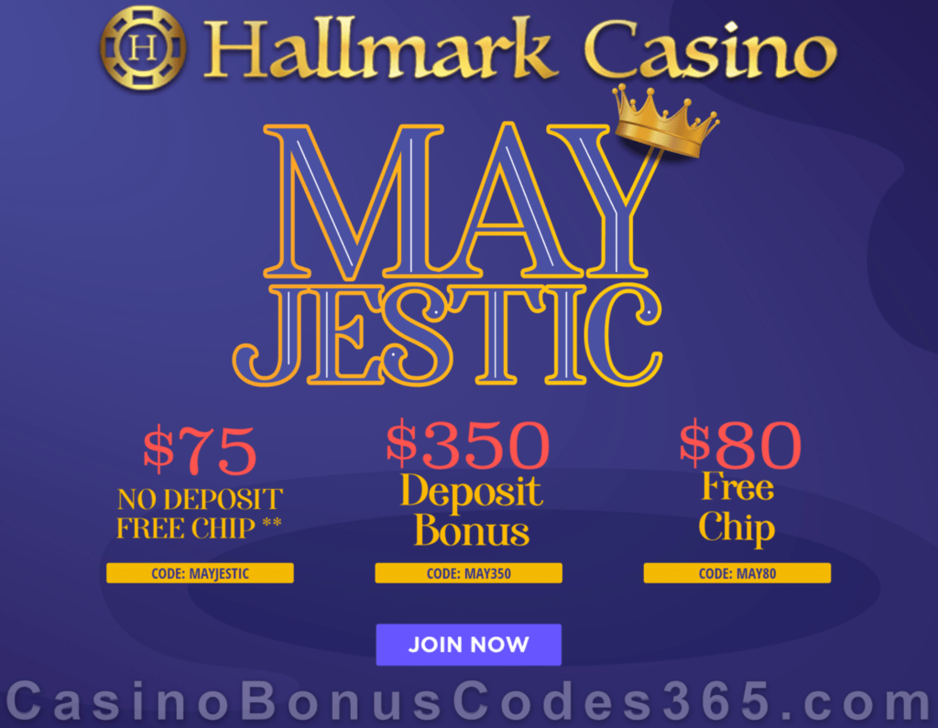Hallmark Casino $150 FREE Chip and 350% Match Bonus Special Mayjestic Deal