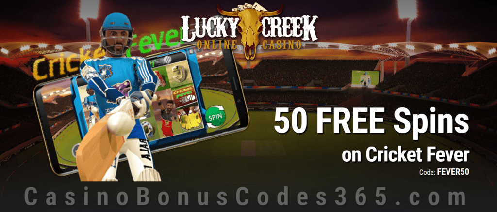 Lucky Creek 50 FREE Saucify Cricket Fever Spins No Deposit Special Offer