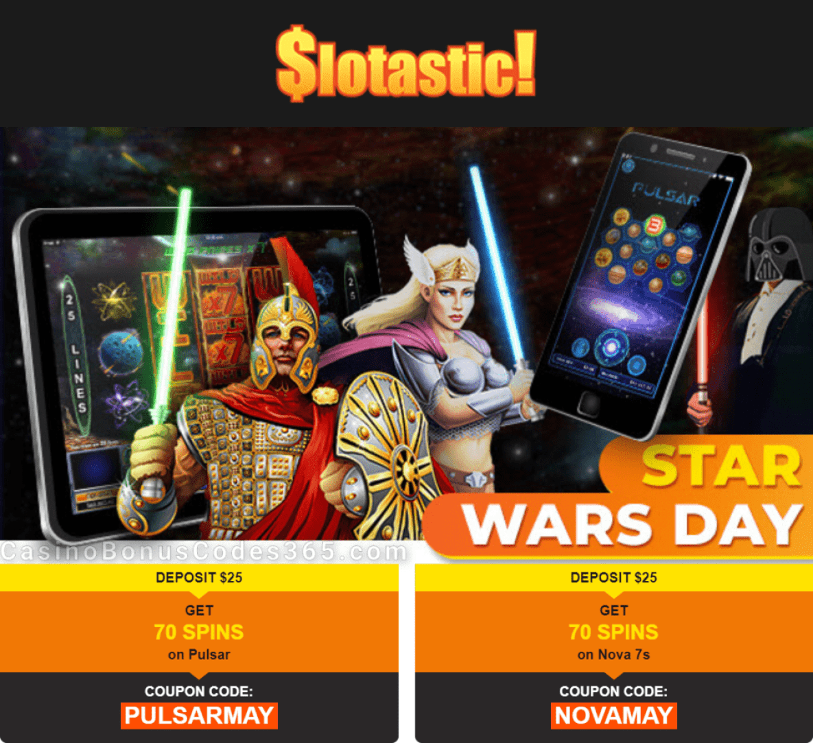 Slotastic Online Casino Star Wars Day Celebration RTG Pulsar Nova 7s