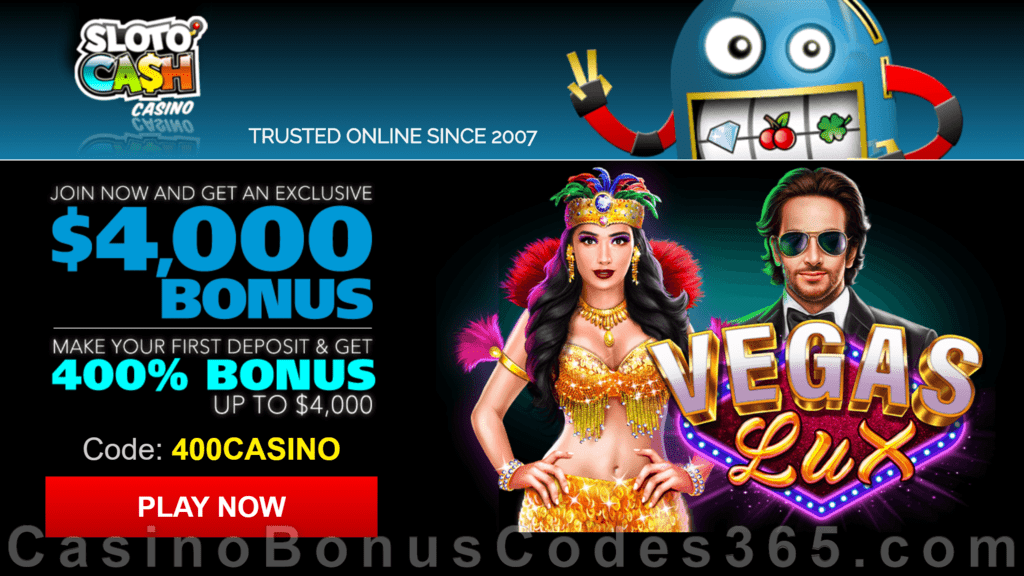 SlotoCash Casino RTG Vegas Lux 400% Welcome Bonus