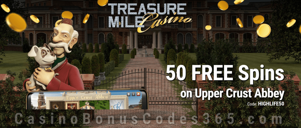 Treasure Mile Casino 50 FREE Saucify Upper Crust Abbey Spins Special No Deposit Deal