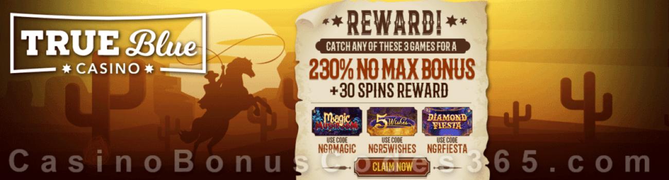 True Blue Casino The Game Roundup Bonuses RTG Magic Mushroom Diamond Fiesta 5 Wishes