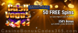 Grand Eagle Casino 50 FREE Spins on Saucify Cash Vegas plus 250% Match Bonus Special Offer