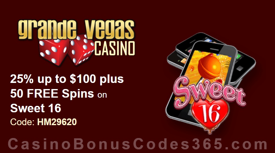 Grande Vegas Casino 25% up to $100 plus 50 FREE Spins on RTG Sweet 16 Special Deal