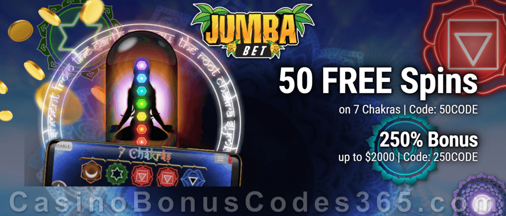 Jumba Bet 50 FREE Saucify 7 Chakras Spins plus 250% Match Bonus New Players Welcome Offer