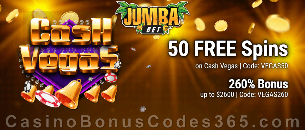 Jumba Bet 50 Saucify FREE Cash Vegas Spins plus 260% Match Bonus New Players Sign Up Promo