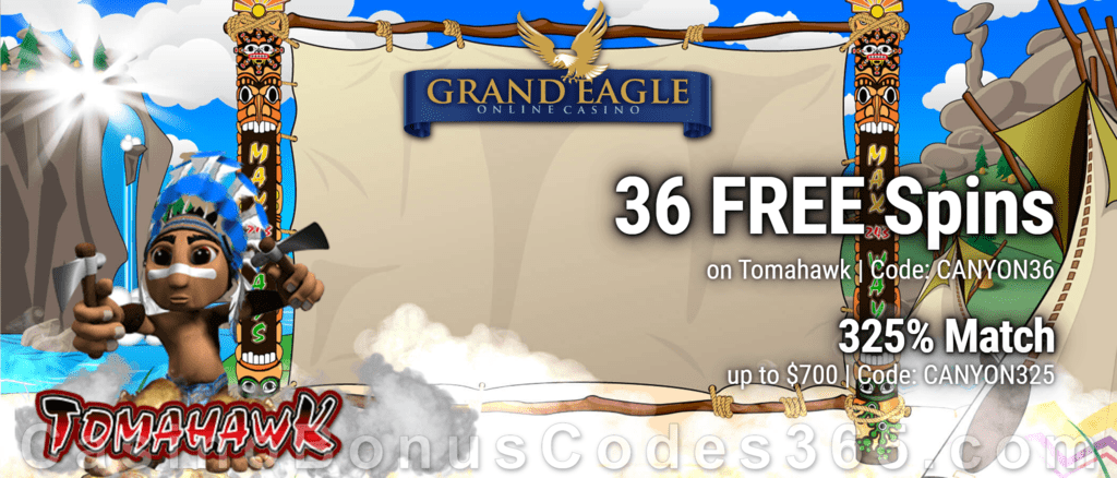Grand Eagle Casino 36 FREE Saucify Tomahawk Spins plus 325% Match Welcome Bonus Pack