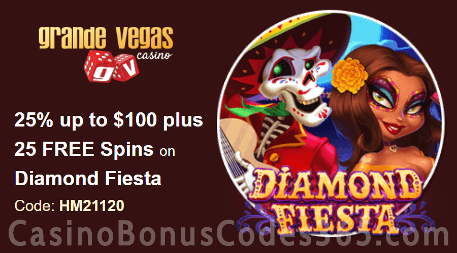 Grande Vegas Casino 25% up to $100 plus 50 FREE RTG Diamond Fiesta Spins Special Weekly Deal