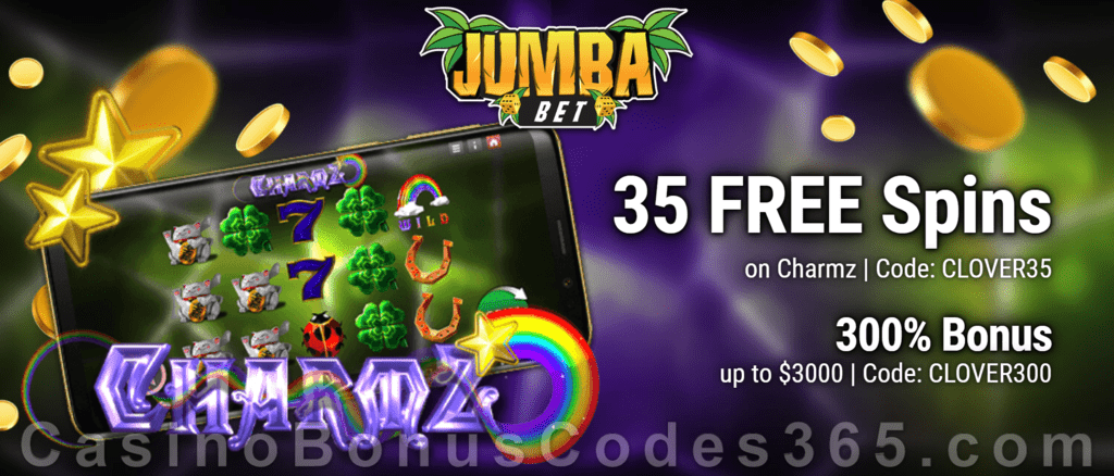 Jumba Bet 35 FREE Genii Charmz Spins plus 300% Match Welcome Bonus