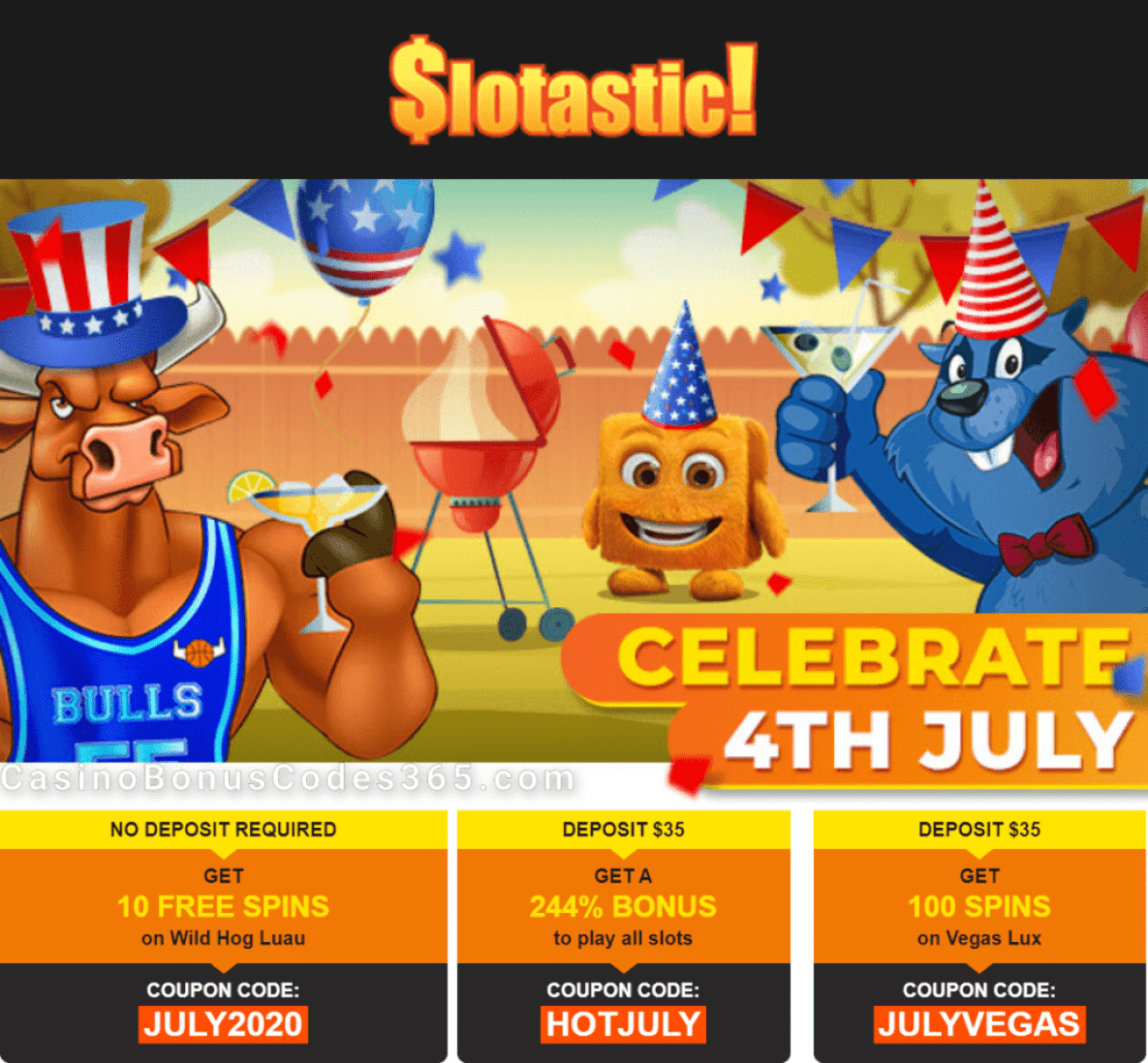 Slotastic Online Casino Cinco 4th of July Special Offer RTG Wild Hog Luau Vegas Lux