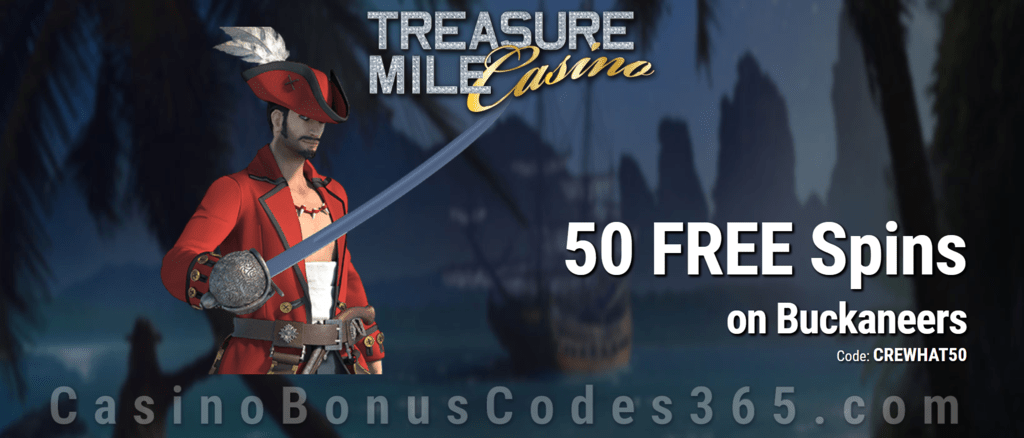 Treasure Mile Casino 50 FREE Saucify Buckaneers Spins Special No Deposit Deal