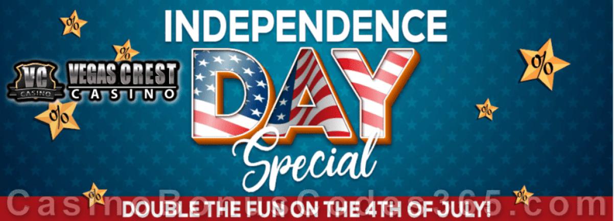 Vegas Crest Casino Independence Day Special Deposit Bonus
