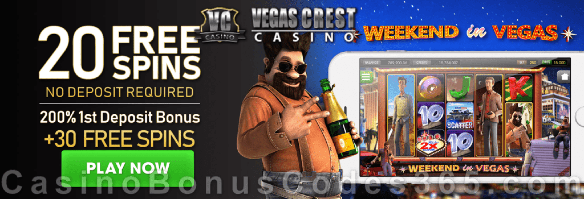 Vegas Crest Casino 20 FREE Spins on Betsoft Weekend in Vegas and 200% Match Bonus plus 30 FREE Spins Welcome Deal